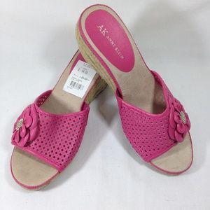Anne Klein Pink Rose Wedge Sandals Sz 9M